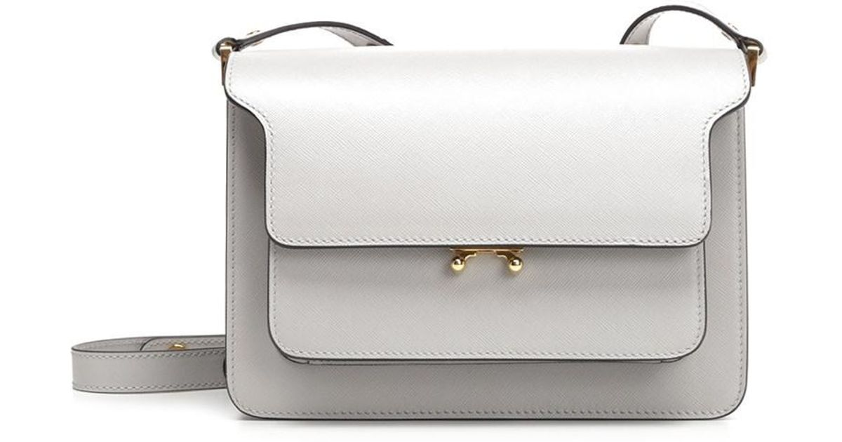 76cb050529a Lyst - Marni Women s Sbmpn09no1lv520zn09n White Leather Shoulder Bag in  White