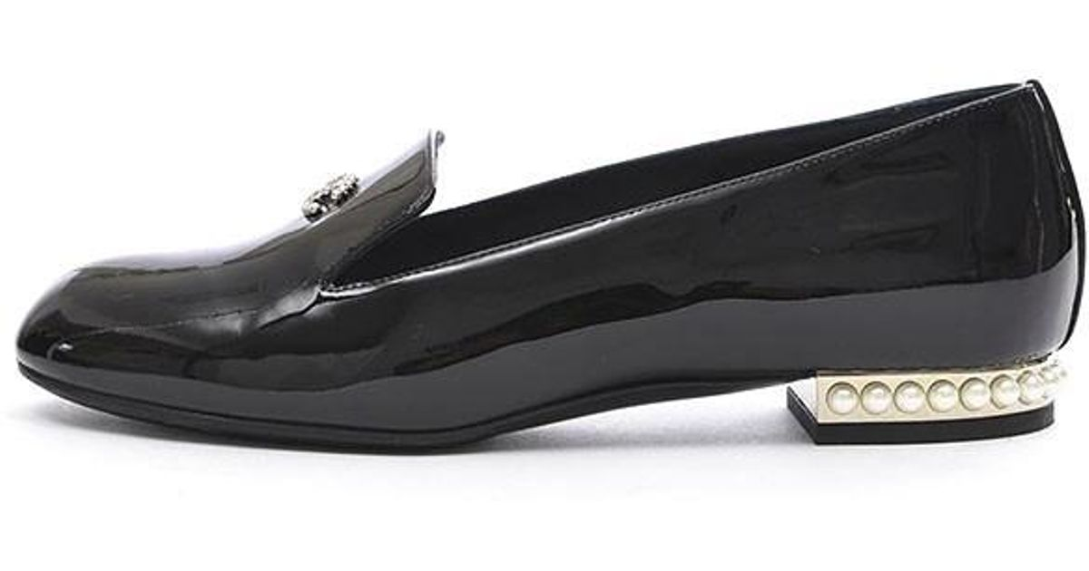 38e2ad497 Chanel Opera Shoes Loafer Pearl Patent Black G 30757 # 35 in Black - Lyst