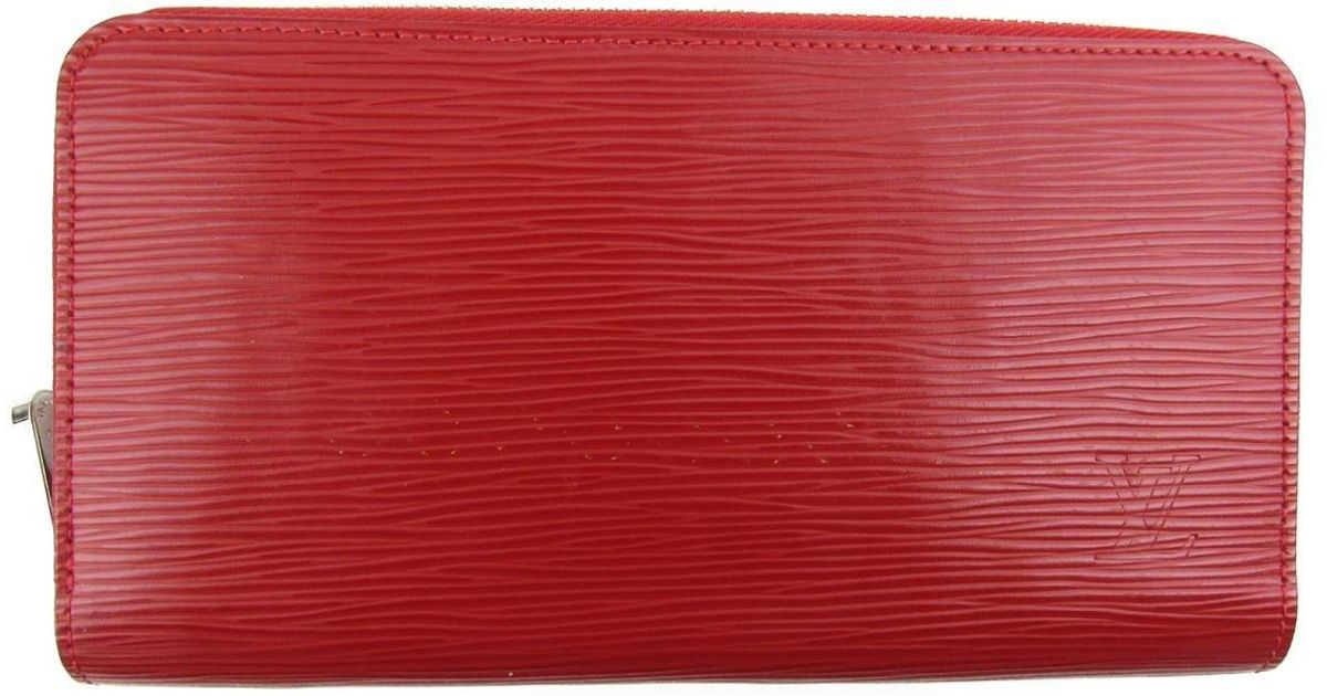 c19887e029a0 Lyst - Louis Vuitton Auth Zippy Wallet Round Purse M60718 Epi Leather  Coquelicot Used in Red