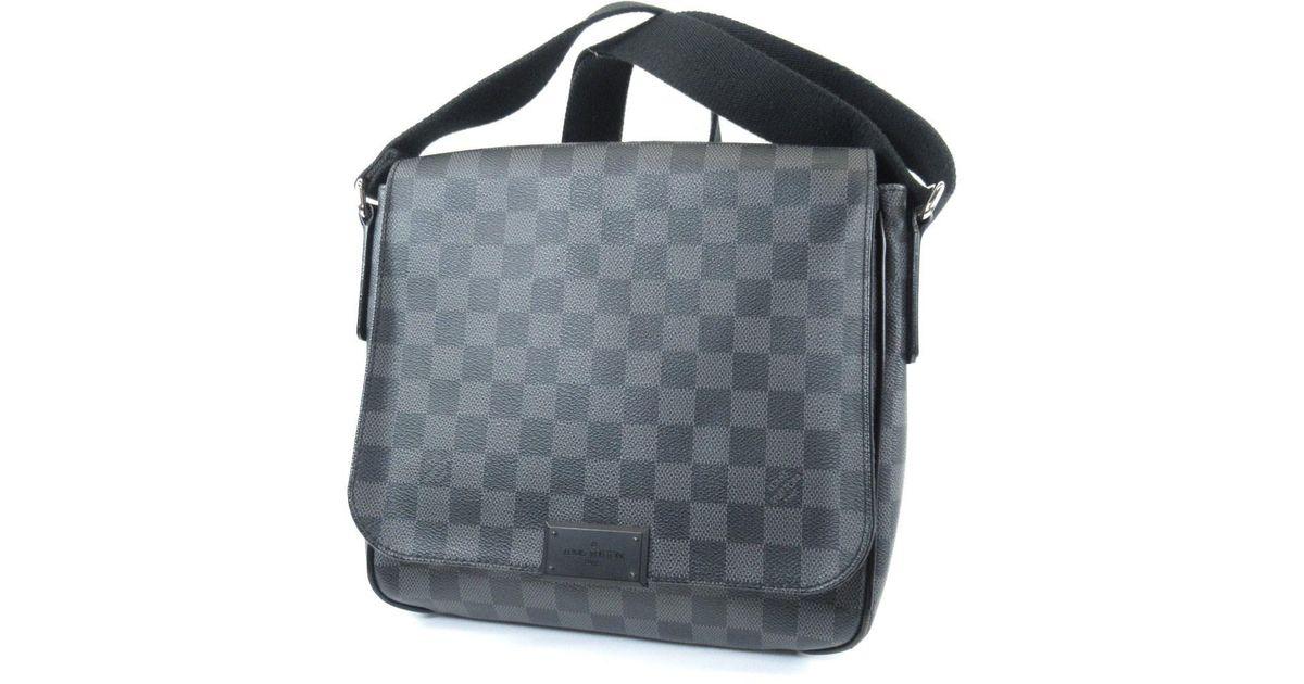 1f469df4442e Lyst - Louis Vuitton Damier Canvas Shoulder Bag N41260 District Pm in Black