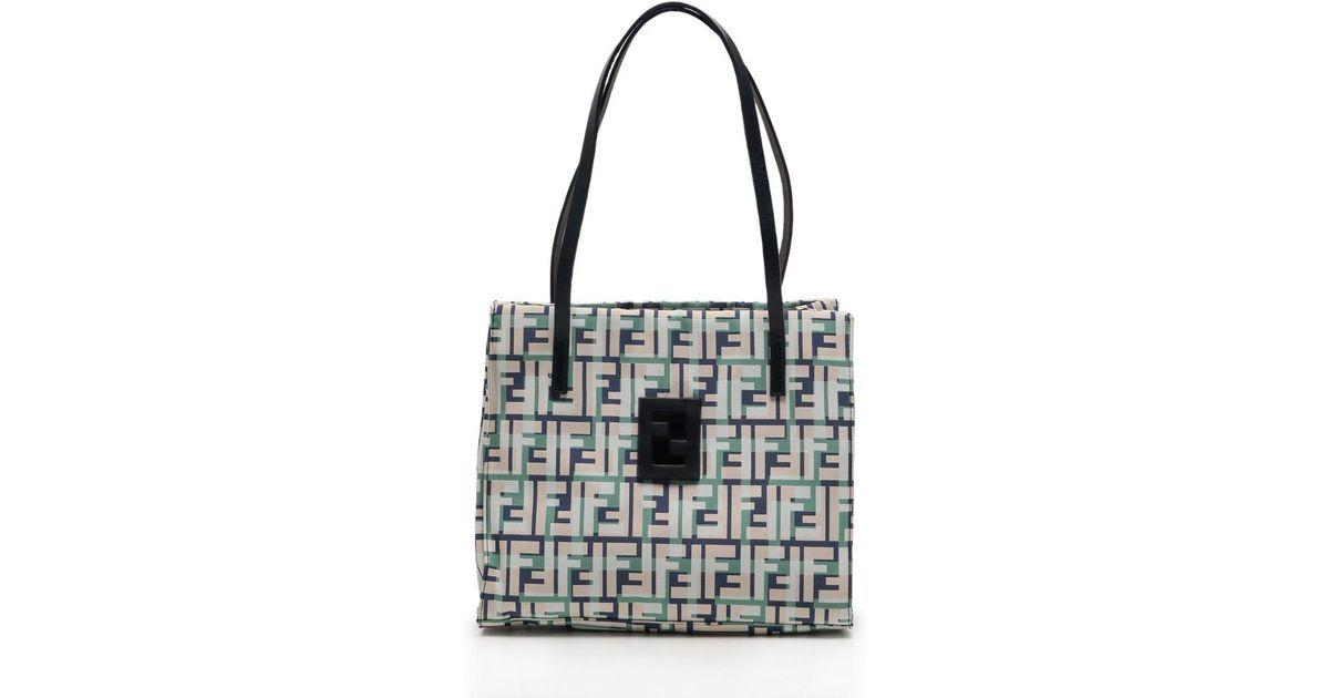 e805015ca6d Lyst - Fendi Zucca Tote Bag Minitoto Canvas Leather White Navy Green