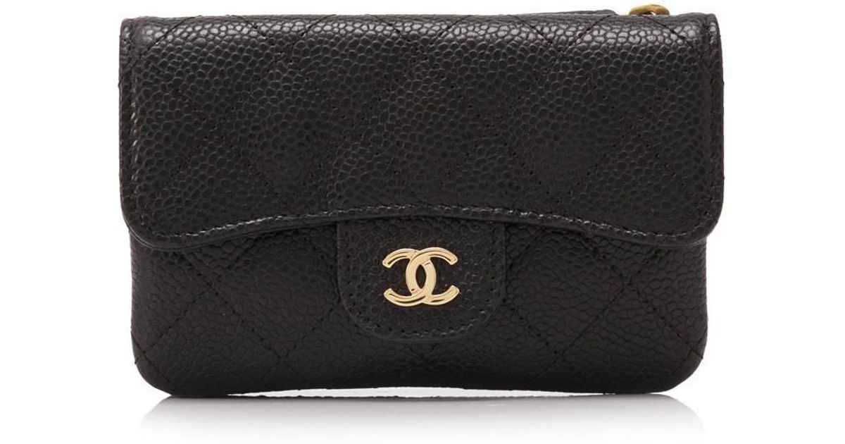 b831ffed04519f Chanel Pre-owned Quilted Caviar Leather Short Wallet in Black - Lyst