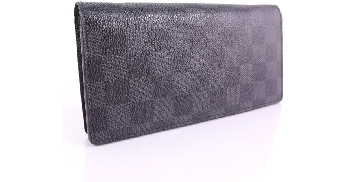 6fe93bdca88 Lyst Louis Vuitton Bifold N 62665 Damier Graphite Canvas Black