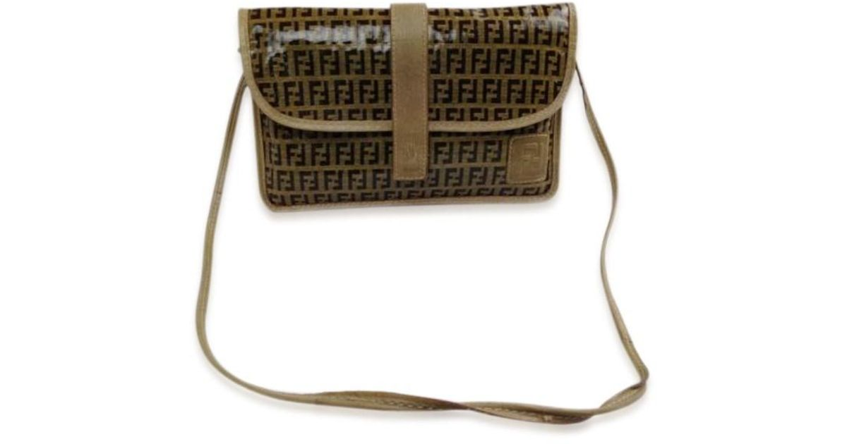06c22db2eeb Lyst - Fendi Zucca Pattern Logos Shoulder Bag Made In Italy 5f162540 in  Brown