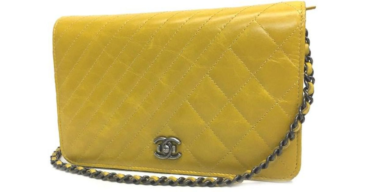 352d9e5b9ae1 Chanel Boy Double-stitch Chain Wallet Woc Bag Mustard Yellow in Yellow -  Lyst