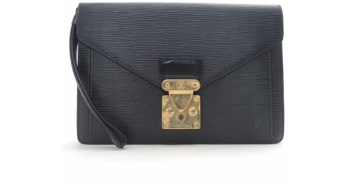 d2f4098fa759 Lyst - Louis Vuitton Epi Leather Sellier Dragonne Clutch Bag Handbag M52612  in Black