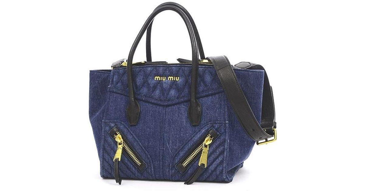 14a8c59213 Lyst - Miu Miu Miumiu Denim Biker 2 Wayshoulder Bag Rn 1032 in Blue