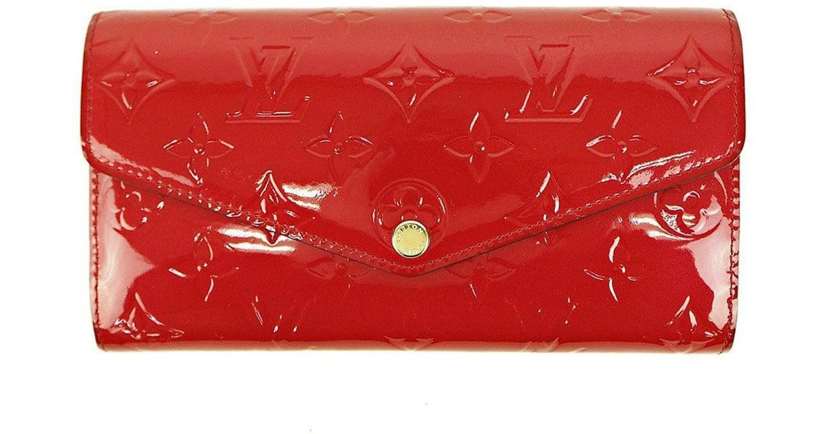 b6d50fb4e2b Lyst - Louis Vuitton Purse Wallet Portefeuille Sarah Monogram Vernis Cerise  Red M90208 Used (a) in Red