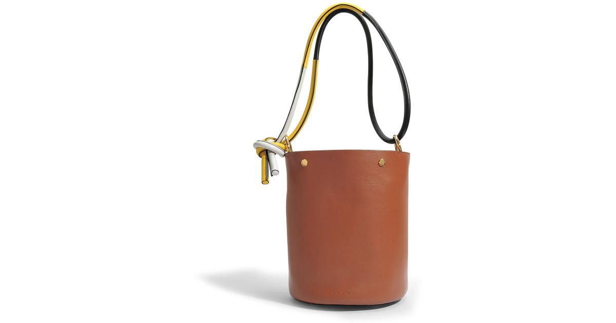 Bucket Bag in Marroon Black Safran and Fog Calfskin Marni FdUiR1lw