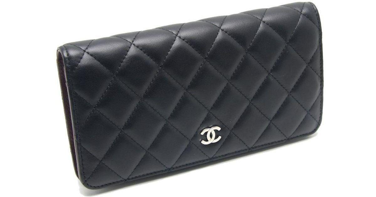 03a3ddddd35b Chanel Matelasse Bifold Wallet A31509 Lambskin Black /040564 in Black - Lyst