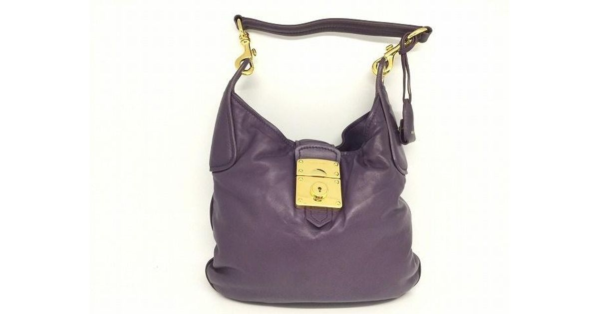 Lyst - Miu Miu Lambskin Leather Hand Bag Purple 5145 in Purple e4926f54d6671
