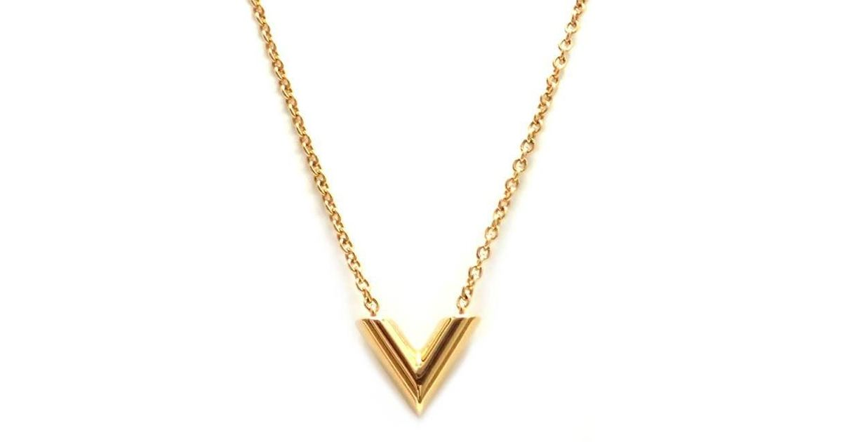 8a0f4eec6c0c6 Lyst - Louis Vuitton Essential V Necklace M 61083 Brass Plated Yellow Gold  in Metallic