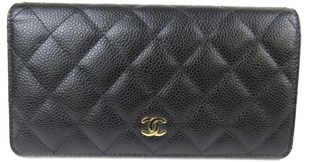 b6695c66d63b36 Chanel Matelasse Zip Long Wallet Black Caviar Skin Leather Quilted Cc  A31509 in Black - Lyst