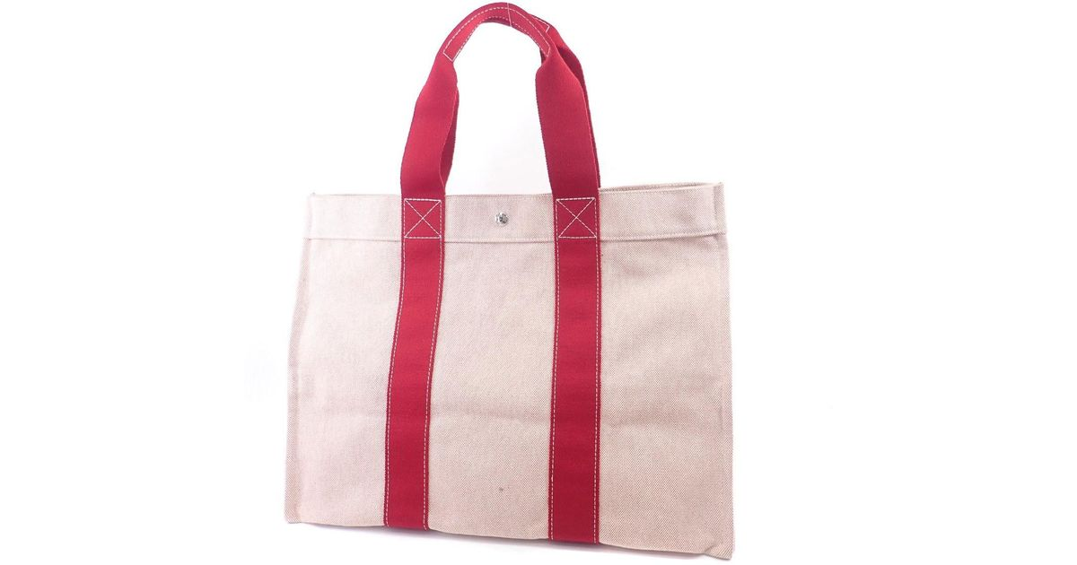 cf62756bf571 Lyst - Hermès Canvas Tote Bag Bora Bora in Pink