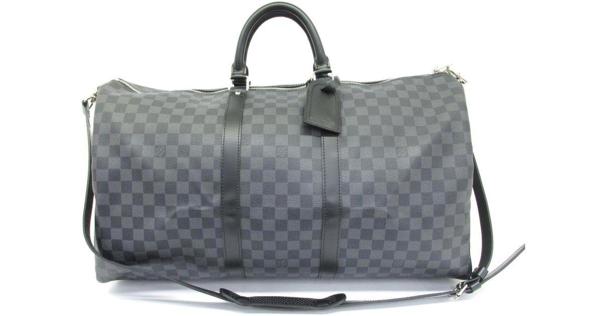 d3d25591ce5 Louis Vuitton Keepall Bandouliere 55 Boston Bag Damier Graphite N41413 in  Gray - Lyst