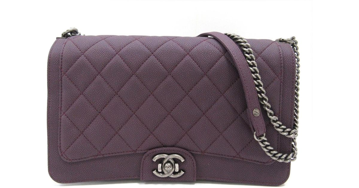 ed476abac64c1e Chanel Boy Chain Shoulder Bag Quilted Caviar Leather Purple in Purple - Lyst