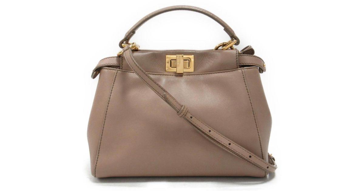 2bb182b9ff6 Lyst - Fendi Mini Peekaboo 2way Hand Shoulder Bag 8bn244 Leather Beige Used  in Natural