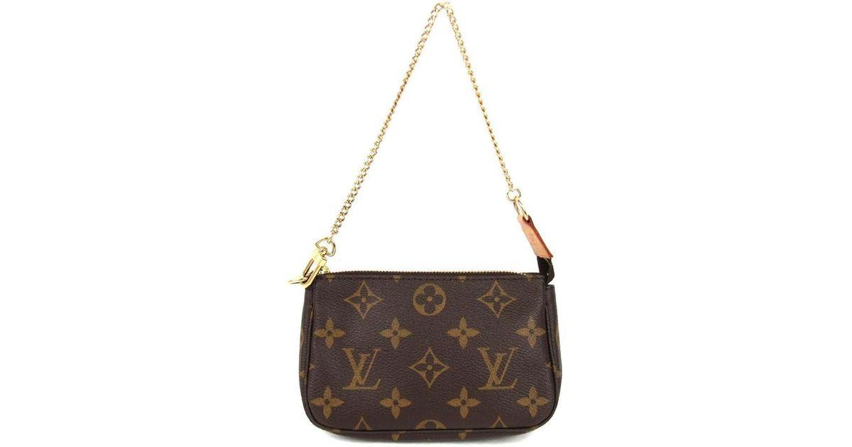 37e85a7435d5 Lyst - Louis Vuitton Mini Pochette Accessoires Pouch Monogram Canvas M58009  in Brown