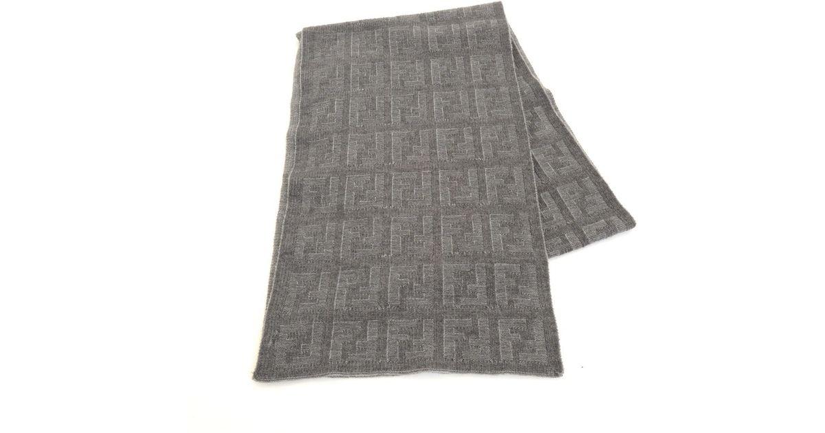 4c9abb8cc6 Fendi Gray Wool 100% F Logo Scarf