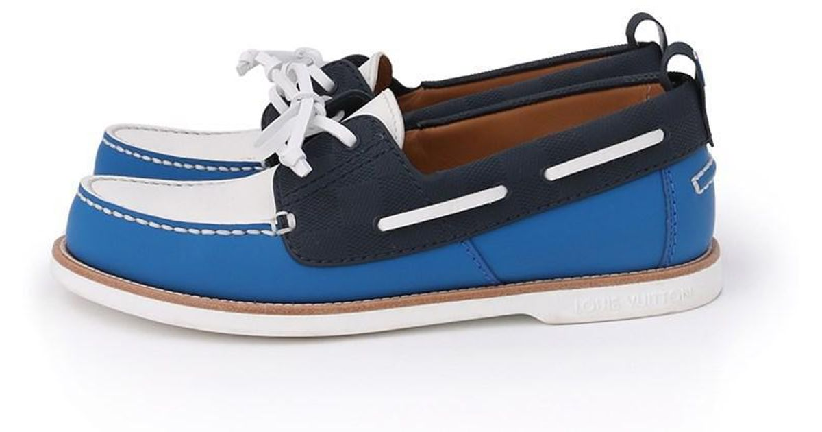 d45072ad086 Louis Vuitton Blue Marines Line Loafers Deck Shoes America's Cup 2017  Limited for men