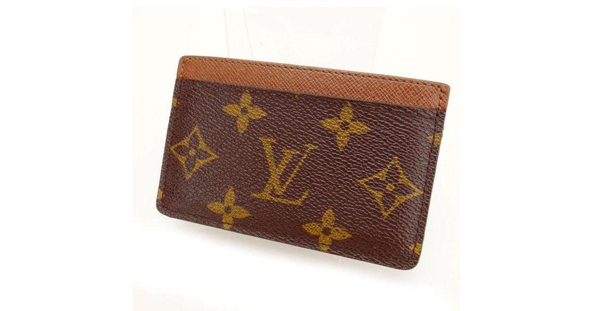 24b84ca1ef51 Lyst - Louis Vuitton Business Card Holder Monogram Unisexused Y732 in Brown