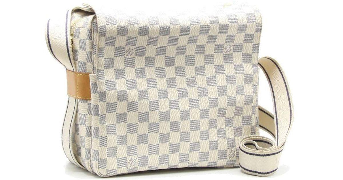 cd537c90798f Lyst - Louis Vuitton Damier Azur Naviglio Shoulder Bag N51189 White  18795  in White
