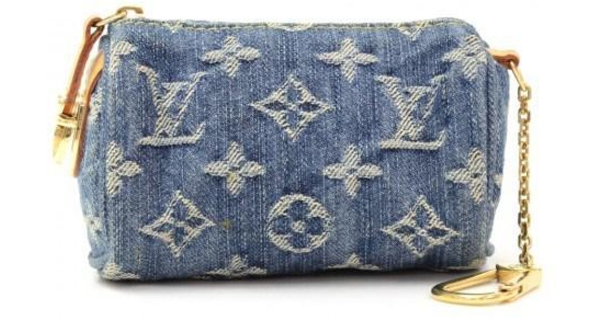 5bb2edbbf Louis Vuitton Mini Bb Speedy Monogram Denim Coin Pouch Cles Key Chain /  Holder in Blue - Lyst