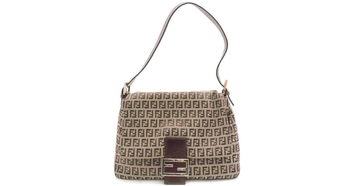 87593c4e6ef Lyst - Fendi Canvas Zucca Pattern One Shoulder Shoulder Bag in Natural
