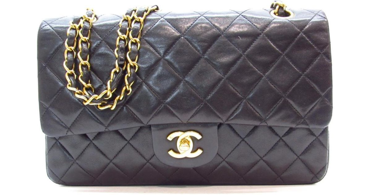 8ed6cab663e Lyst - Chanel Authentic Matelasse W Flap Chain Shoulder Bag Lambskin  Leather Used in Black