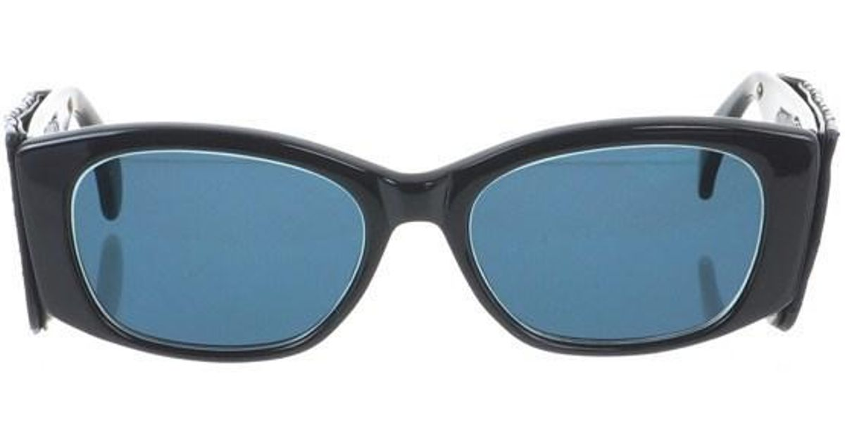 8f1eee182c Lyst - Chanel Vintage 1988 Chunky Leather Temple Quilted Sunglasses. in  Black