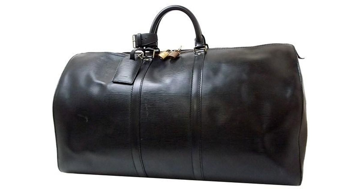 f1ed3000028 Louis Vuitton Keepall 55 Epi Black Boston Bag Vintage [used]
