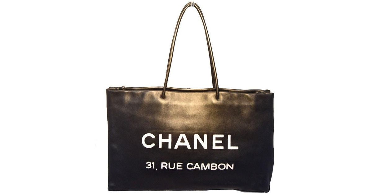 eacb1ce9c632 Chanel Black Leather Rue Cambon Shopping Bag Tote in Black - Lyst