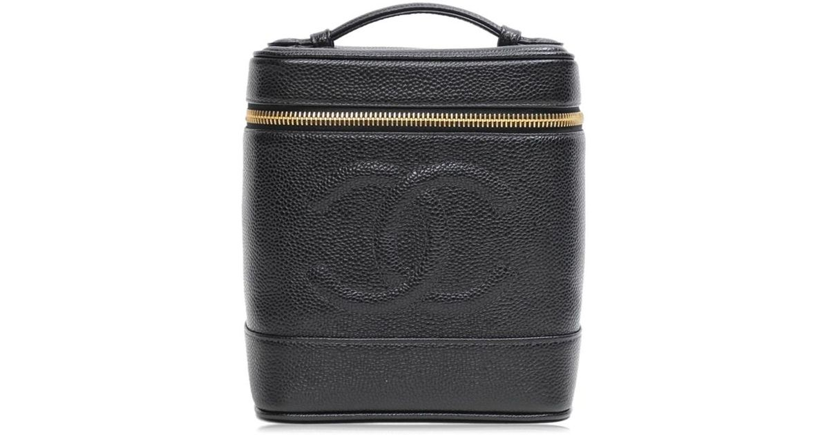 aa08fefc9814 Lyst - Chanel Cc Cosmetic Pouch Vertical Vanity Caviar Skin Leather Black  in Black