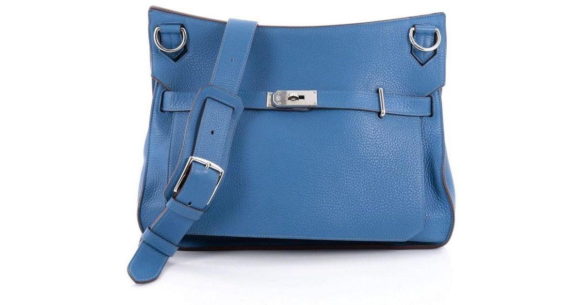 4fb80bb6c60d ... denmark lyst hermès jypsiere handbag clemence 37 in blue 5b6b0 c0d46