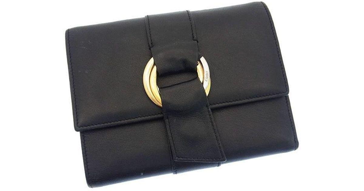 3ae335e2bc6f Lyst - Cartier Wallet Purse Tri-fold Bill Compartment Trinity Unisexused  G587 in Black