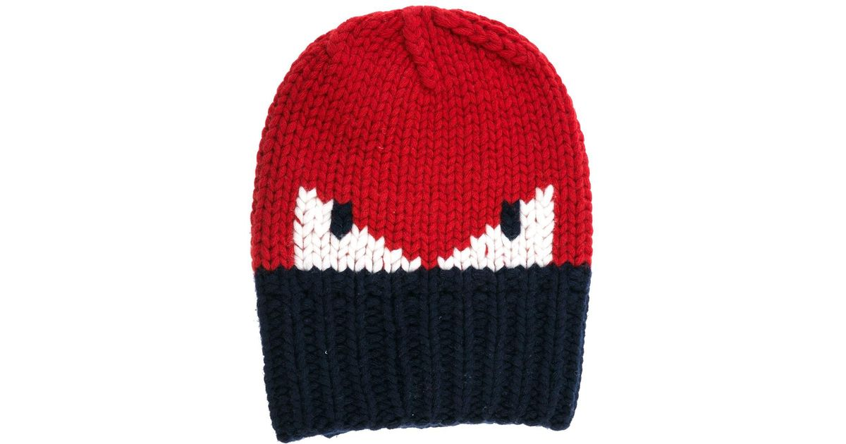 7e6991cff73 Lyst - Fendi Men s Wool Beanie Hat Nuovo Originale Monster Eyes Fxq053 I1a  F0qc9 Red in Red for Men
