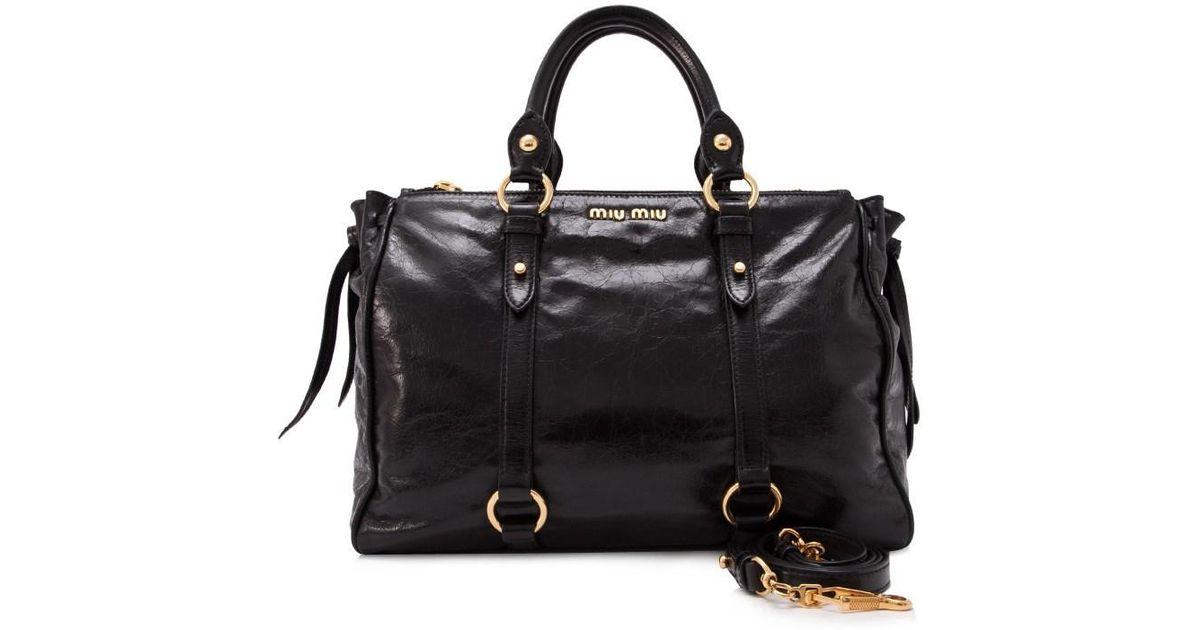 d2f1b15d1991 Lyst - Miu Miu Pre-owned Vitello Shine Shopping Bag in Black