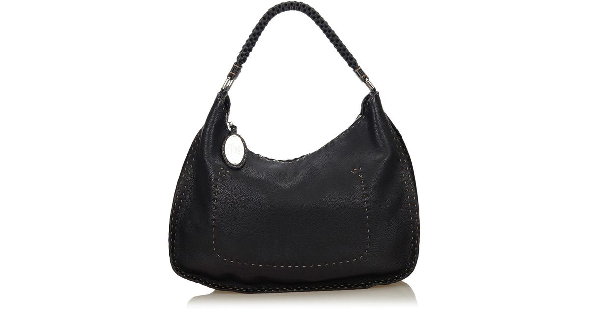 a485fe3373 Lyst - Fendi Leather Selleria Shoulder Bag in Black