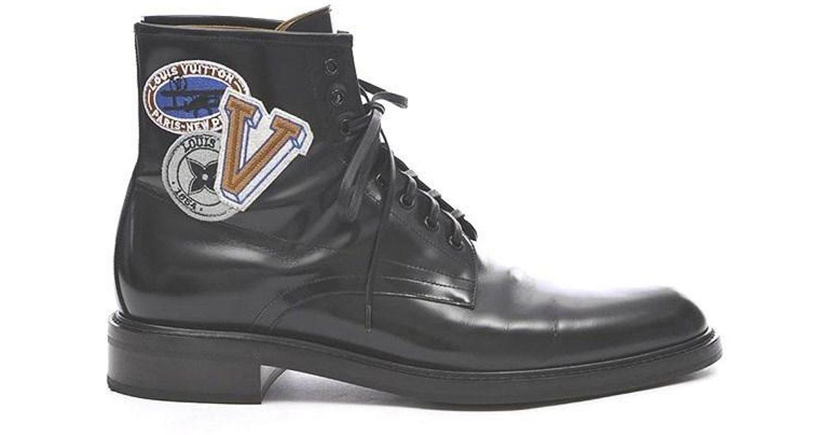 e7a2bb475e Louis Vuitton Lv Voltaire Line Ankle Boots Glazed Calfskin Black 1a 3 Gco #  9 1/2 for men