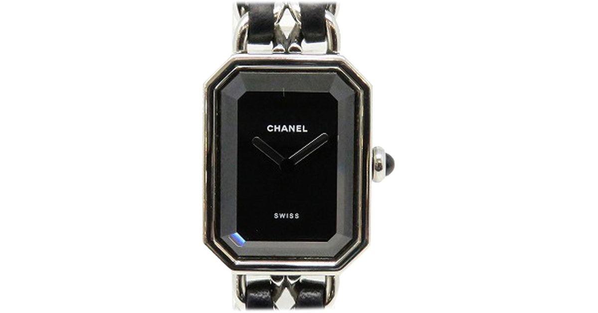 e2cf871bde2a Lyst - Chanel Premiere Watch Metal Chain Strap Black   Silver Quartz 6244  in Metallic