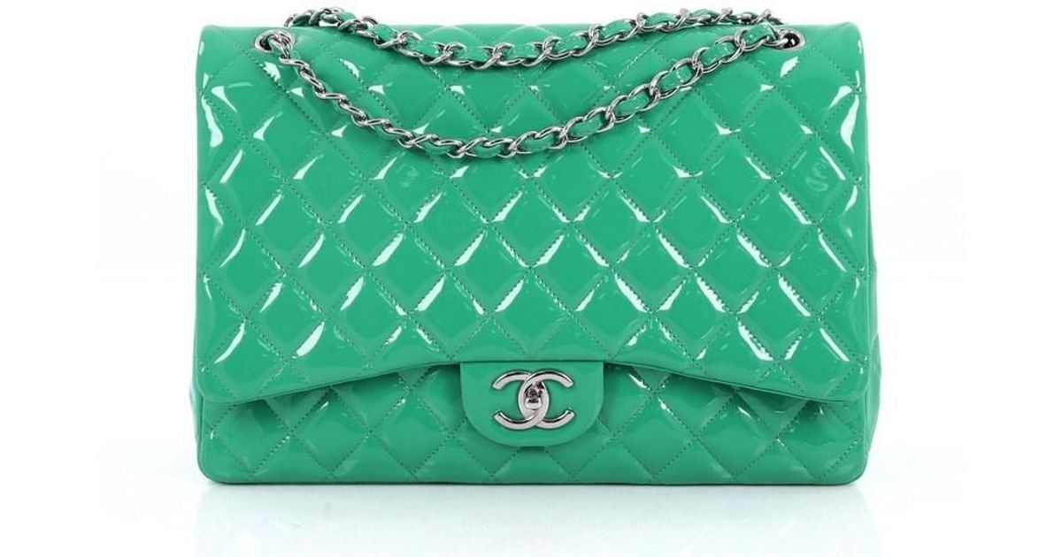 a66983e1115f Lyst - Chanel Classic Double Flap Bag Quilted Patent Maxi in Green