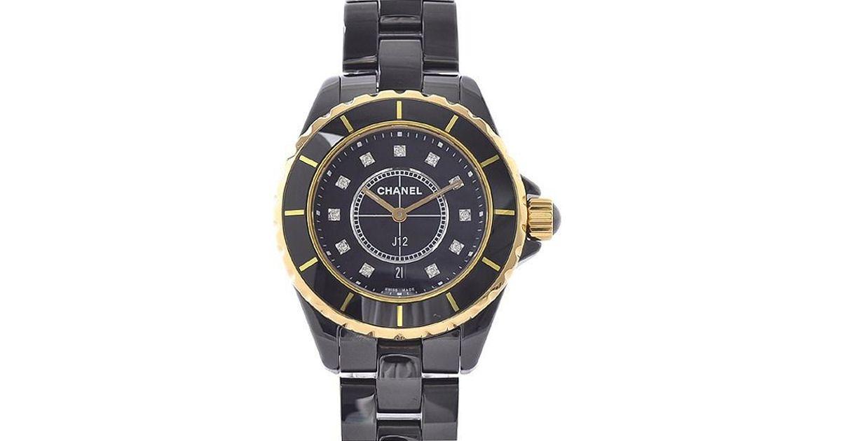 buy popular e4568 a97c7 Chanel J12 33m Black Ceramic 18k Pink Gold 11p Diamond Quartz H2543
