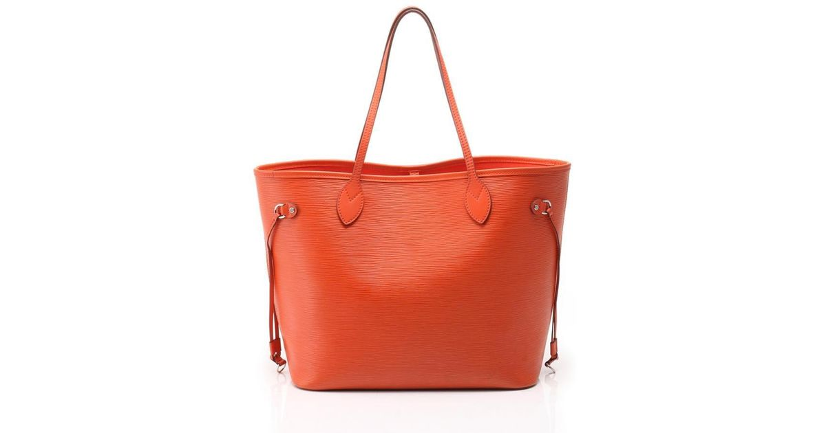 11049bd6a281 Lyst - Louis Vuitton Neverfull Mm Tote Bag Epi Orange in Red
