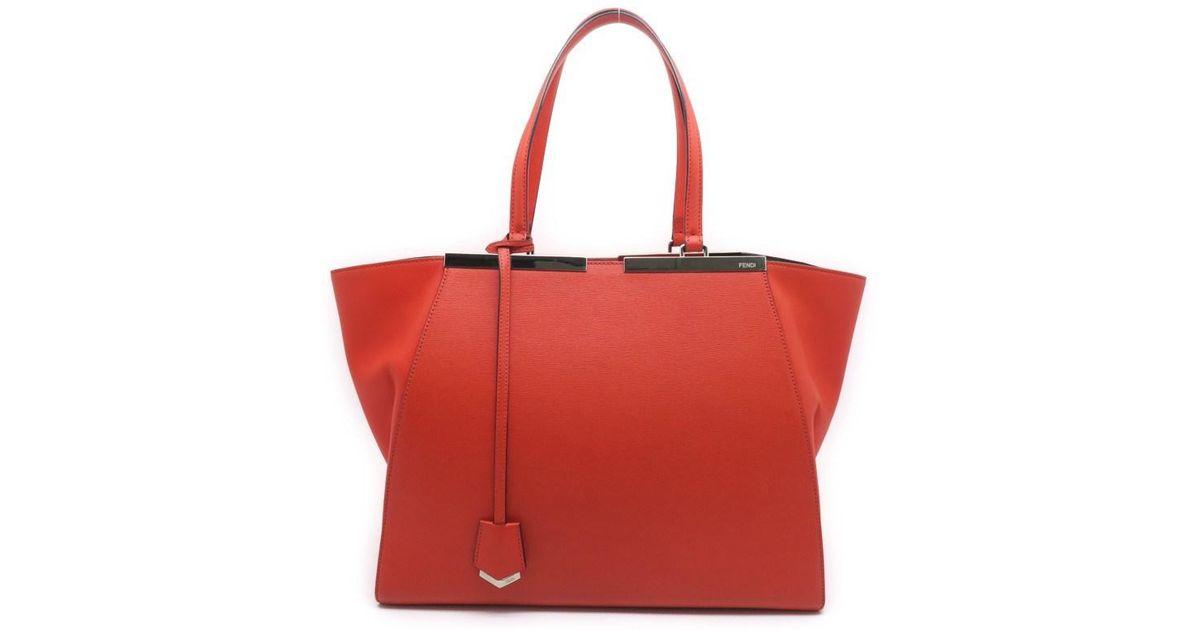 e49004083992 Lyst - Fendi Calfskin Leather 3 Jours Tote Bag Handbag Orange-ish Red 1518  in Red