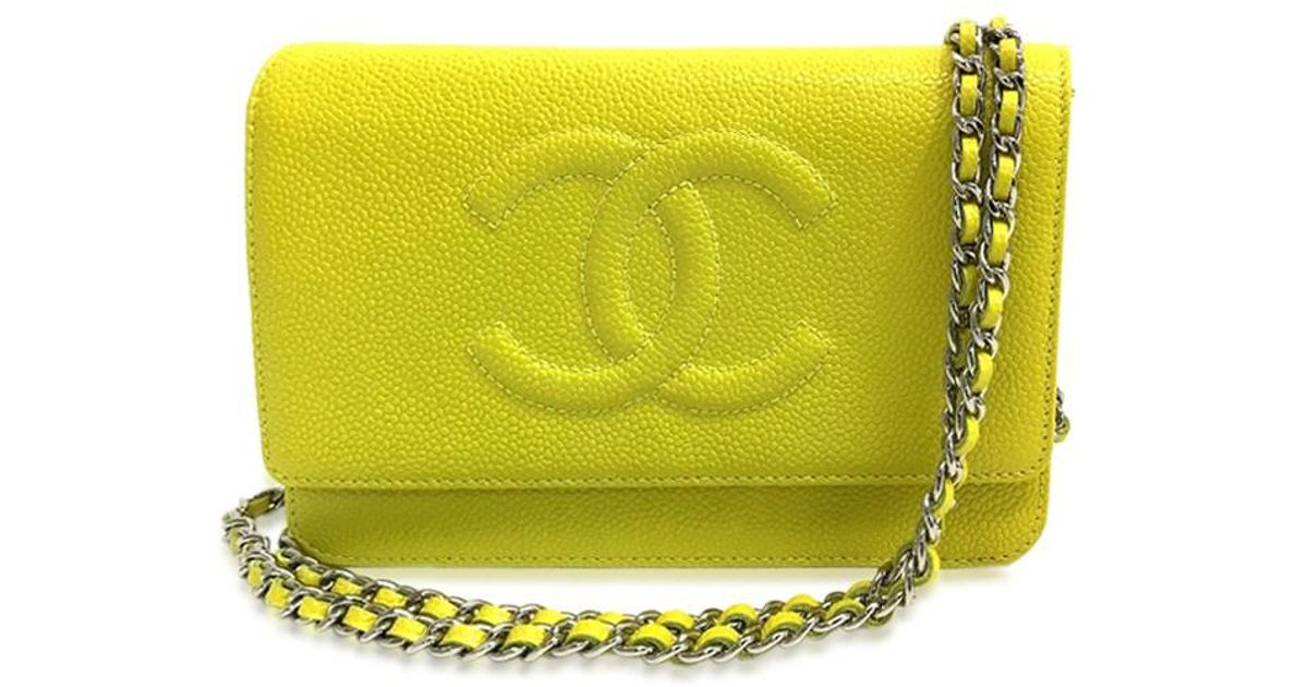 77304d87186b5b Chanel Unused Cc Cc Mark Wallet Bag Chain Wallet Shoulder Bag Yellow Caviar  Leather A48654 in Yellow - Lyst