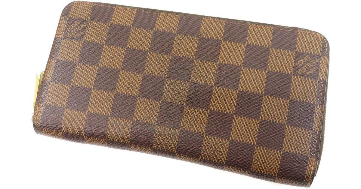 31d80620c0a Lyst - Louis Vuitton Damier Canvas Purse (with Coin Purse) N60015 Zippy  Wallet in Brown