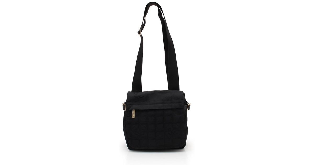 0b95ebeb55e737 Chanel New Travel Line Shoulder Bag Nylon Canvas Black in Black - Lyst