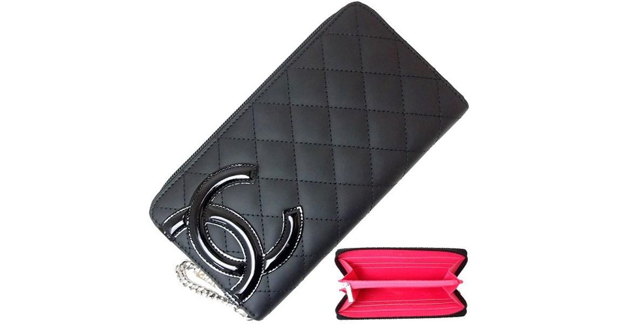 ab21ab4415ee Lyst - Chanel Round Fastener Long Wallet Cambon Matelasse Black Pink [new]  in Black