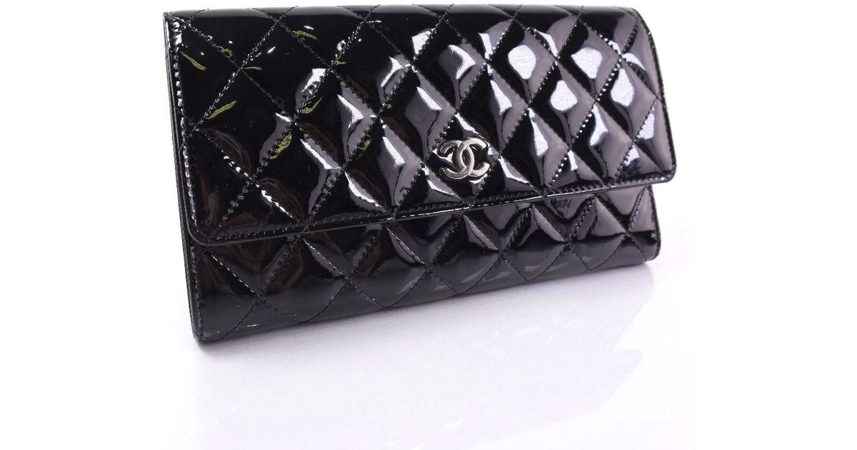 44037d0f Chanel Brilliant Patent Leather Black Purse Women