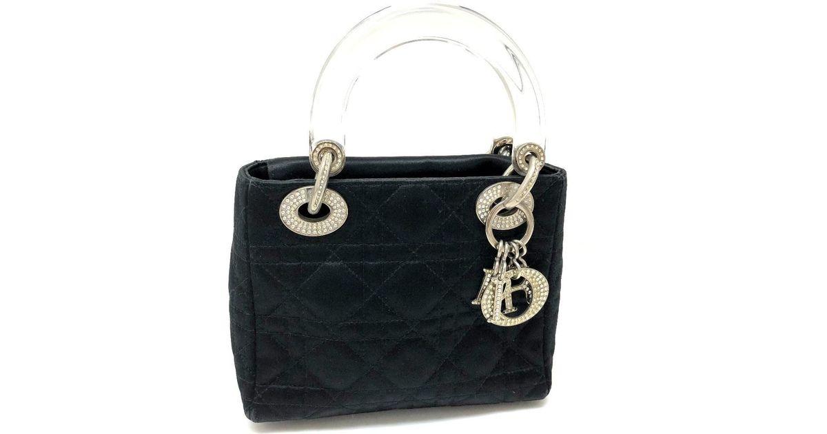 Lyst - Dior Lady (ready Christian ) Mini Hand Bag Hand Bag Black Satin  rhinestone in Black 968d0af111